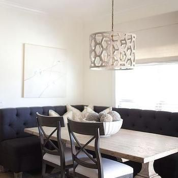 L Shaped Banquette With Black X Shaped Dining Table And Black Rattan Dining  Chairs   Transitional   Kitchen