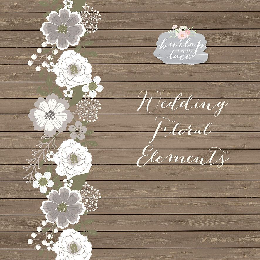 Rustic wedding clipart teal brown shabby chic clipart Hand Drawn ...