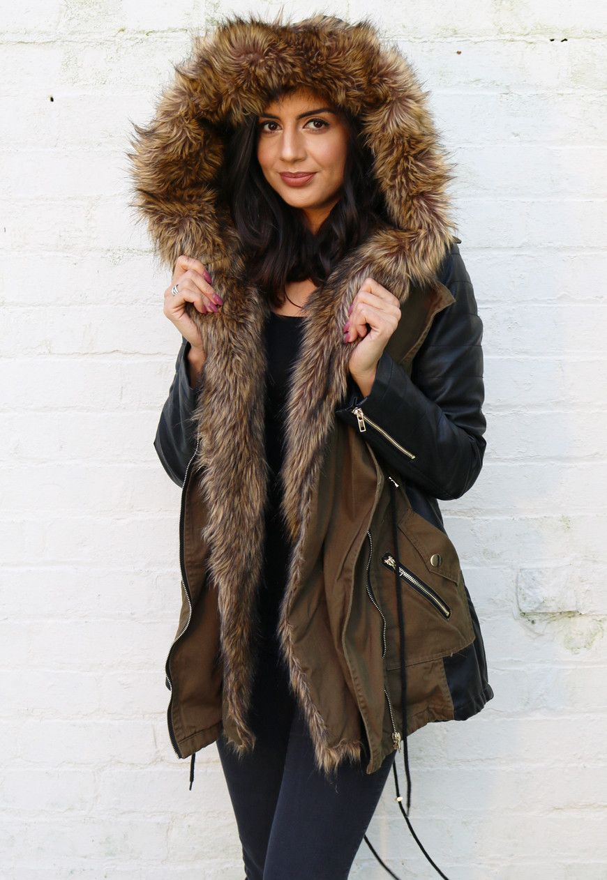 Faux Leather Sleeve Parka Coat
