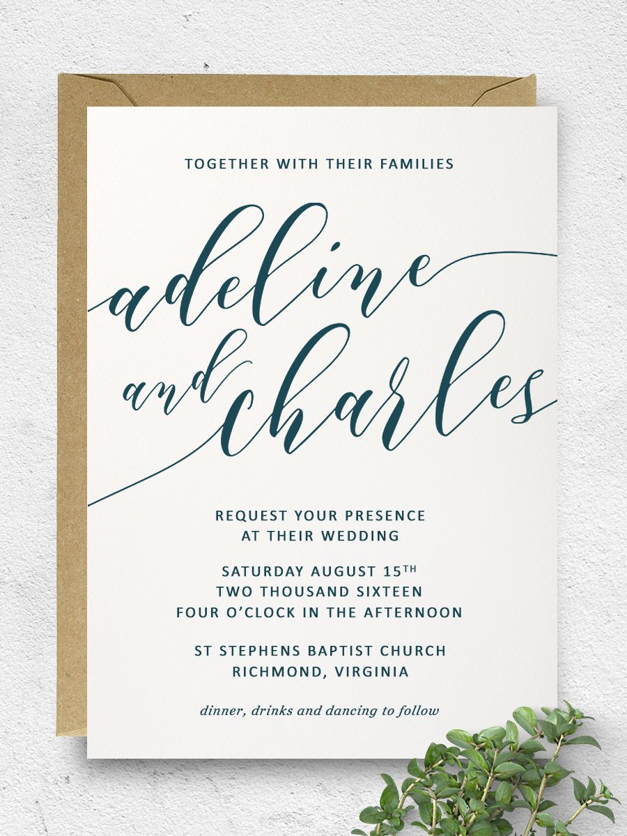 Printable Wedding Invitation | Calligraphy Invitation Suite | Made ...