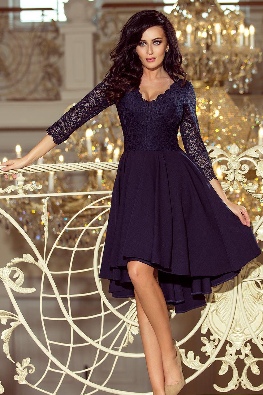 7f7418e473 Rozkloszowana sukienka z dłuższym tyłem