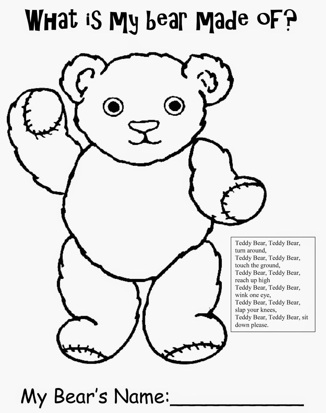 Teddy Bear Free Printable Worksheet For Preschool Kindergarten