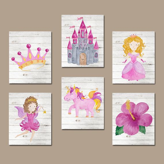 Princess Wall Art watercolor princess wall art, baby girl nursery wall art, bedroom
