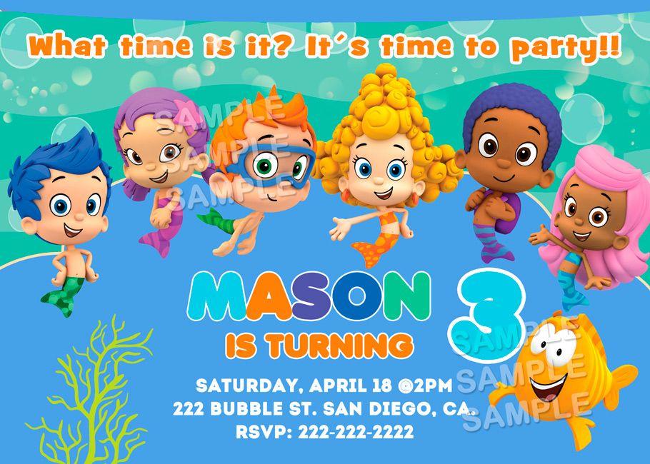 A2 Bubbles Guppies Birthday Invitations | Kids Character Invitations ...
