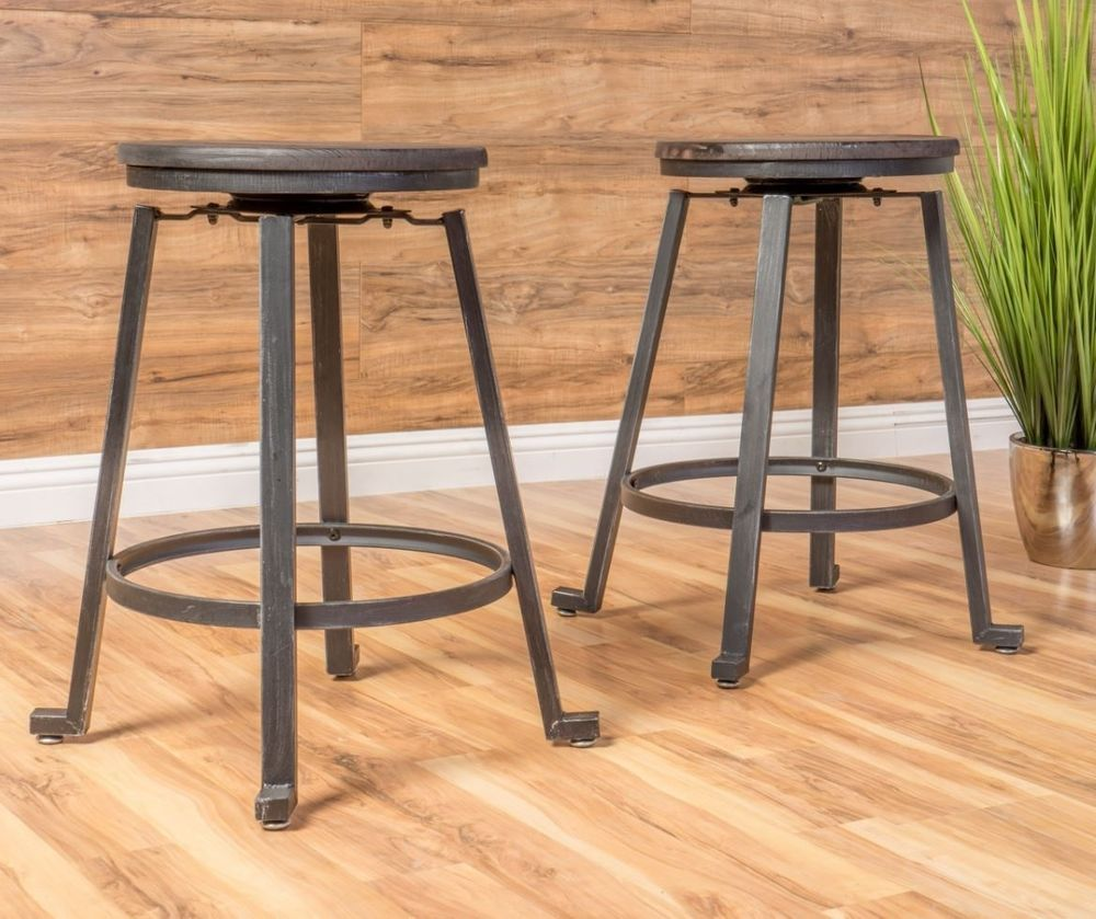 Iron Metal Counter Height Stool Set Of 2 Industrial Restoration Bar Chair  Rustic