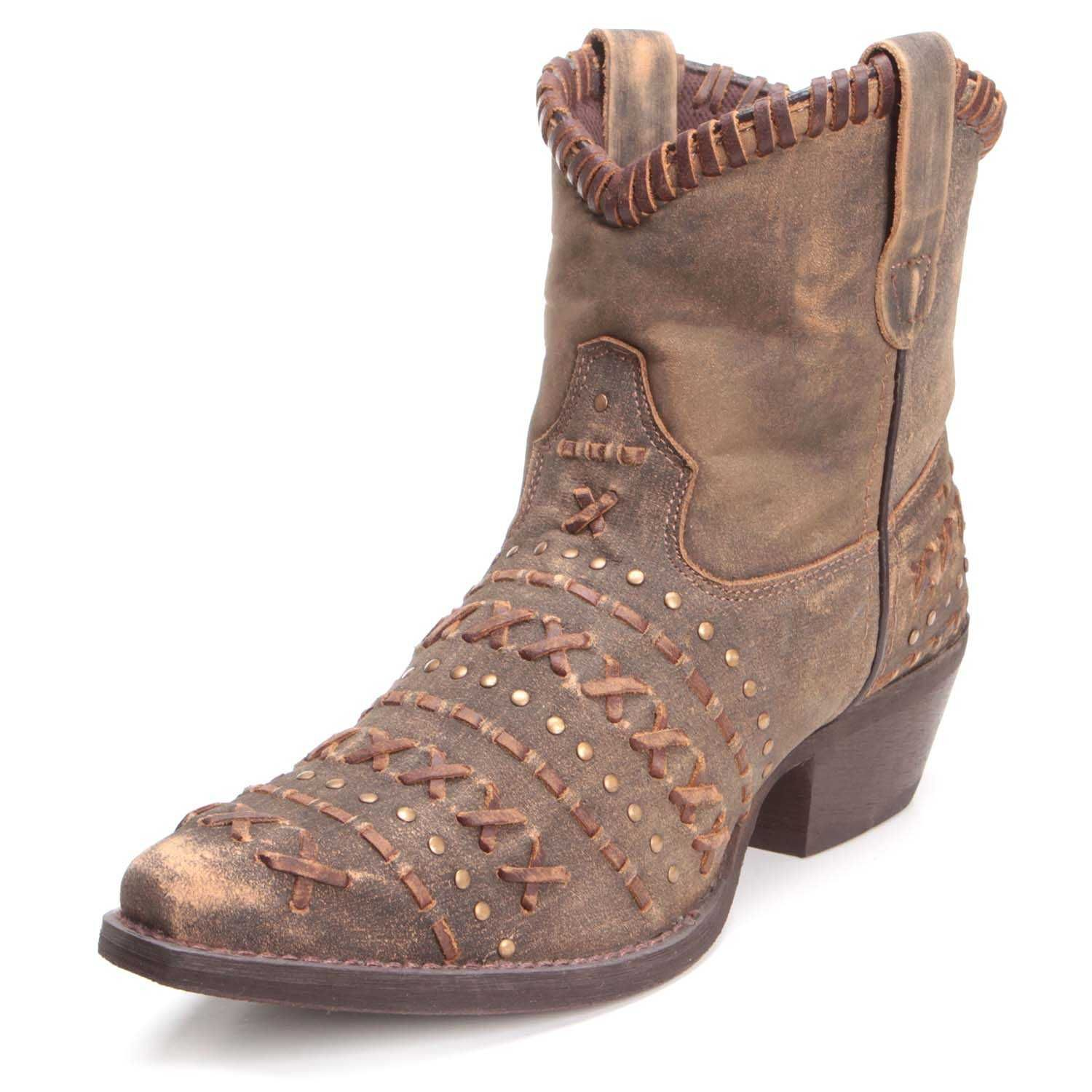 Rawhide Womens Leather Lacing Ankle Boots 5074