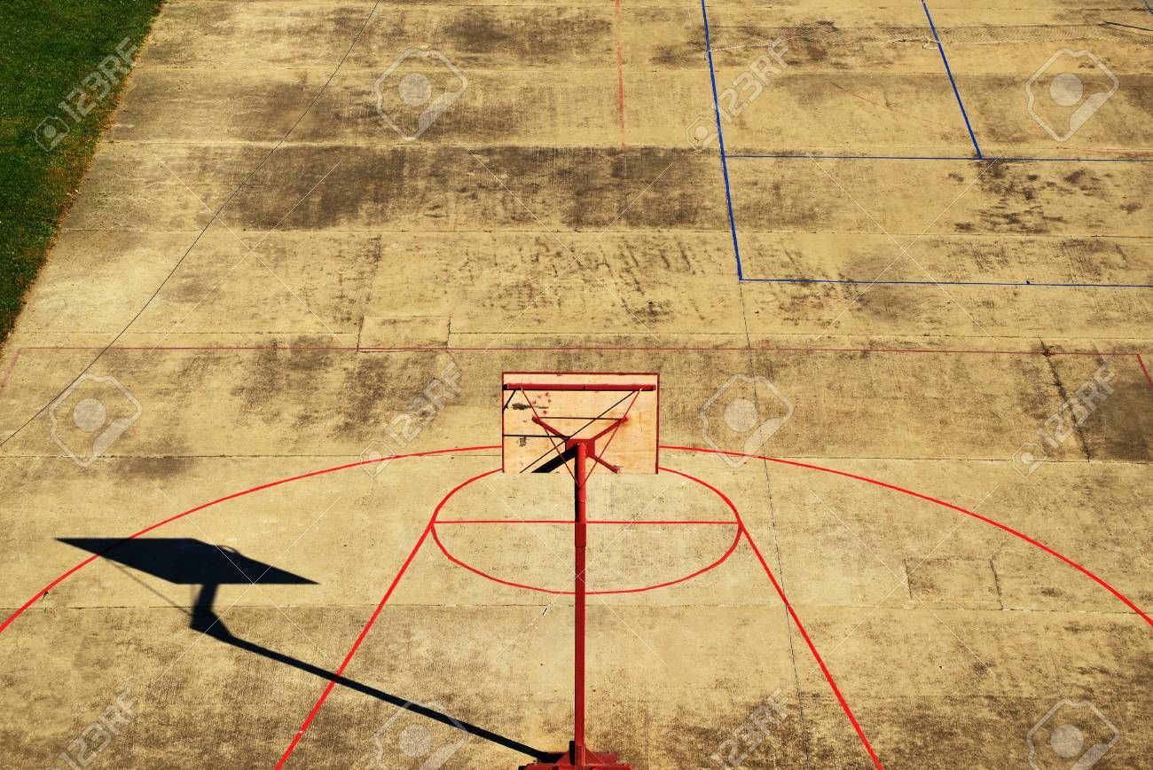 Aerial View Of Empty Outdoor Basketball Court On Hot Summer Day Aff Empty Outdoor Aerial View Basketba Outdoor Basketball Court Aerial View Aerial