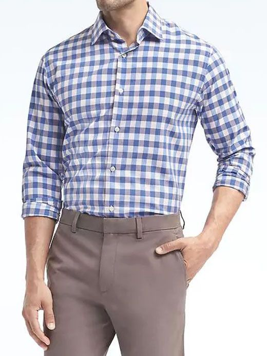 NWT Banana Republic New $79.5 Men Classic-Fit Supima Cotton Stripe Shirt Size MT