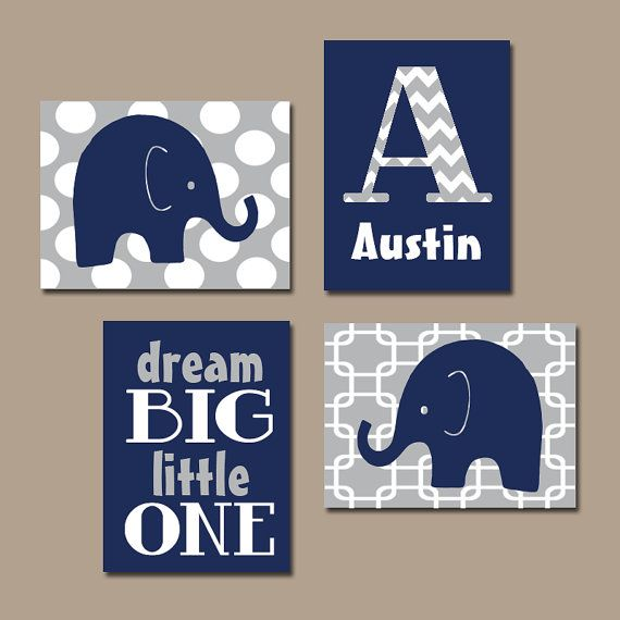 Baby Boy Nursery Wall Art Elephant Blue Bedroom Canvas Or Prints Dream Set Of 4