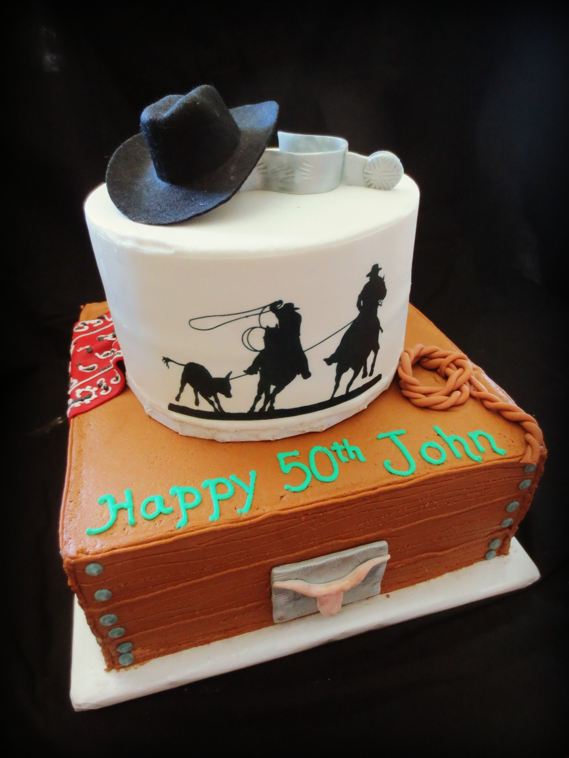 Fabulous Western Cowboy Theme 50Th Birthday Cake With Images Cowboy Funny Birthday Cards Online Aboleapandamsfinfo