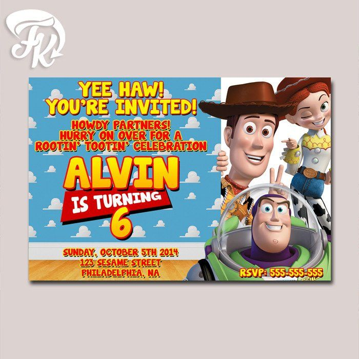 Toy Story Inspired Design Birthday Party Card Digital Invitation Kid ...