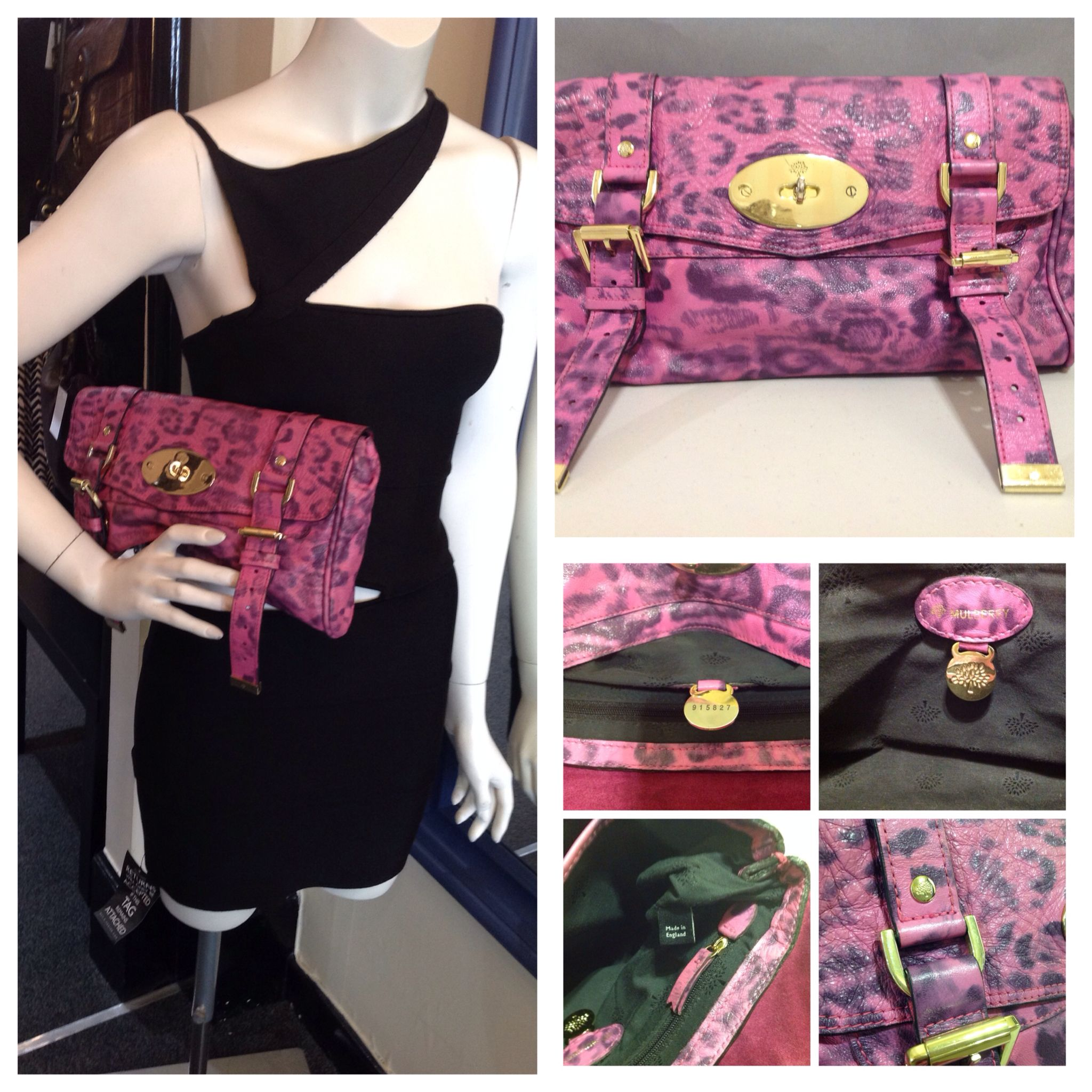 Mulberry Alexa Clutch In Peony Pink Leopard Print Authenticity