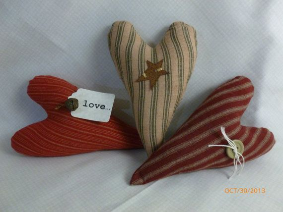 Primitive Heart Ornies Set of Three Item number by SewkrzyQuilts, $10.00