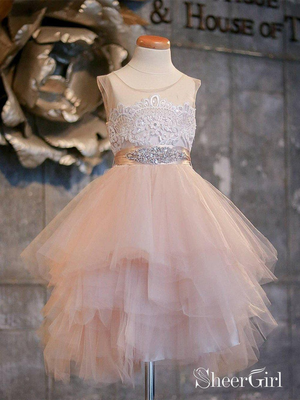 Blush pink flower girl dresses asymmetric tulle lace top cute dress