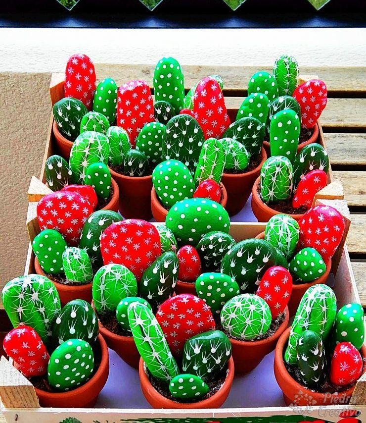 Cactus hechos con piedras cactus cactus pintados en - Jardines con cactus y piedras ...