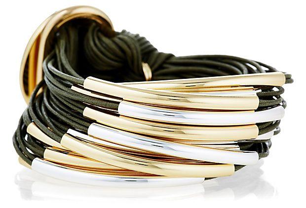 Silver/Gold 30-Strand Bracelet, Khaki on OneKingsLane.com