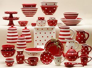 Dishes Table Setting Serving Pieces In Polka Dots Stripe