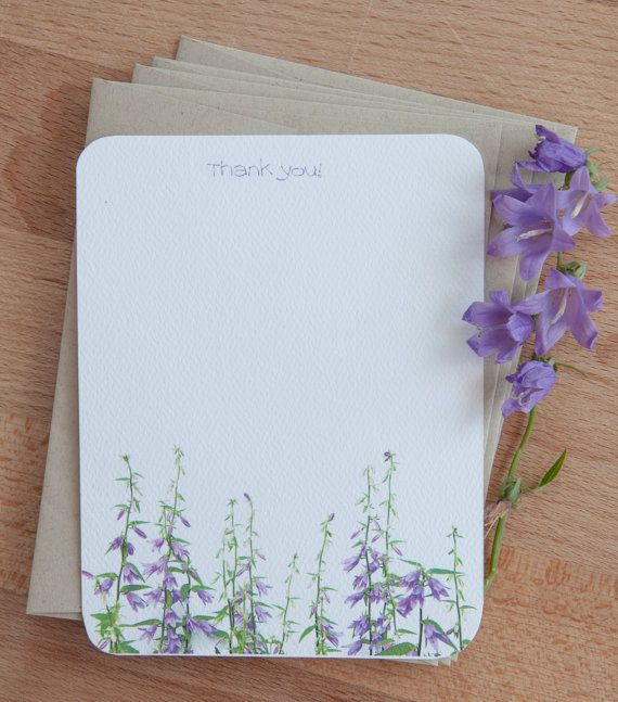 A field of purple flowers makes this personalized stationary set - purple note cards