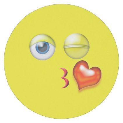 Blowing Kiss Emoji Round Paper Coaster