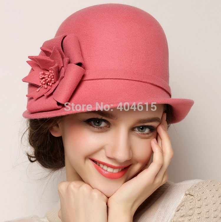 73031f0d031 Wholesale women winter outdoor party formal flower asymmetric 100% wool  felt hats(China (Mainland))