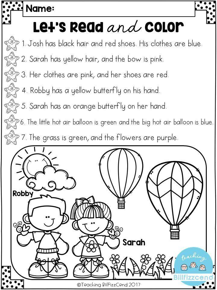 Kindergarten Reading Comprehension Worksheets Pdf Růžena ...