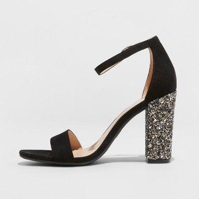 1f9edfd40b2 Women s Ema Glitter Satin Wide Width High Block Heel Pump Sandal - A New Day  Black 5.5W