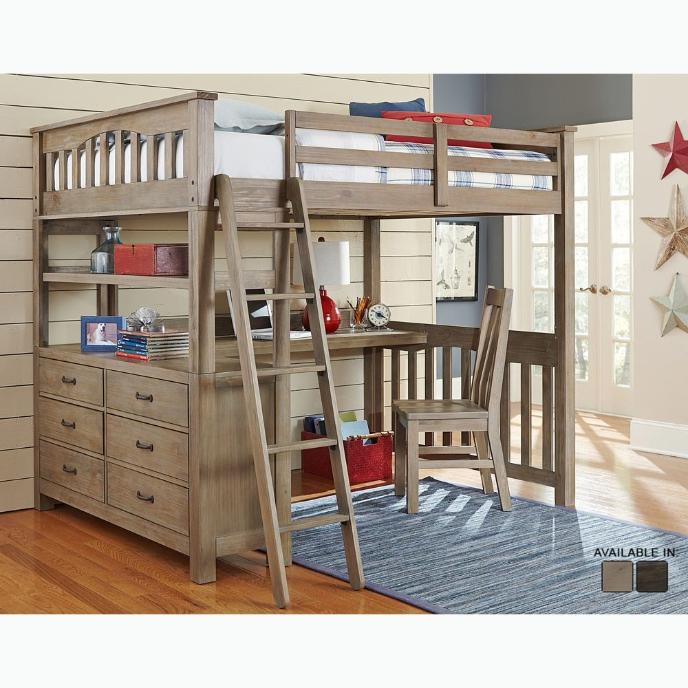 Highlands Collection Driftwood Full-size Loft Bed, Dresser, and Desk ...
