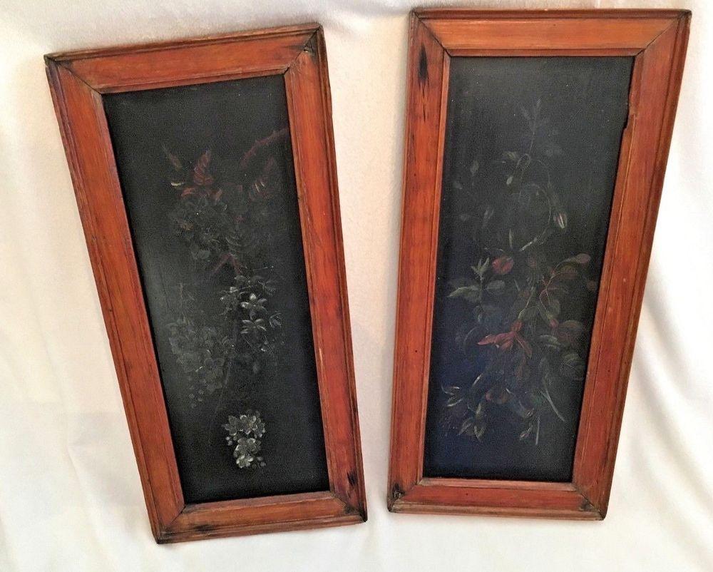 antique wood picture frames. Antique Pair Of Primitive Painting On Wood Floral Folk Art W/Antique Frames # Picture