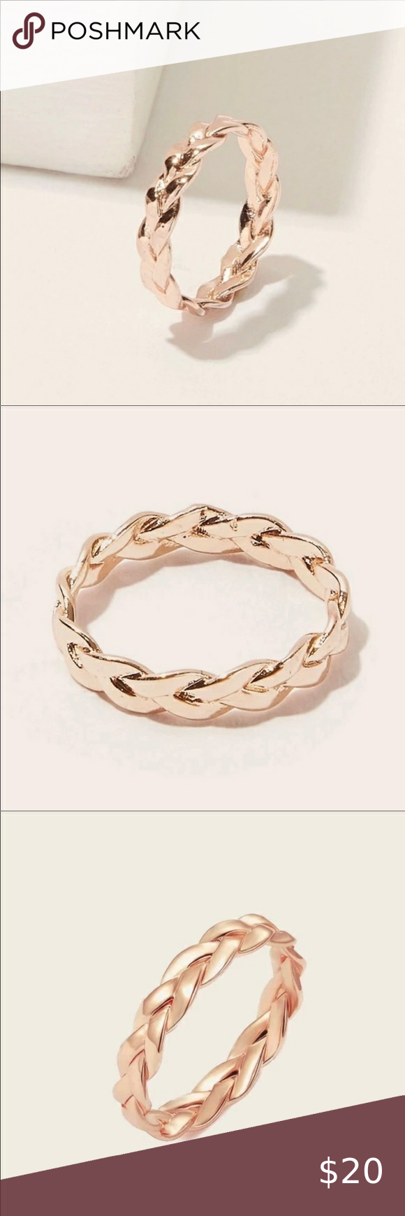 Rose gold braided bands in 2020 Womens jewelry rings