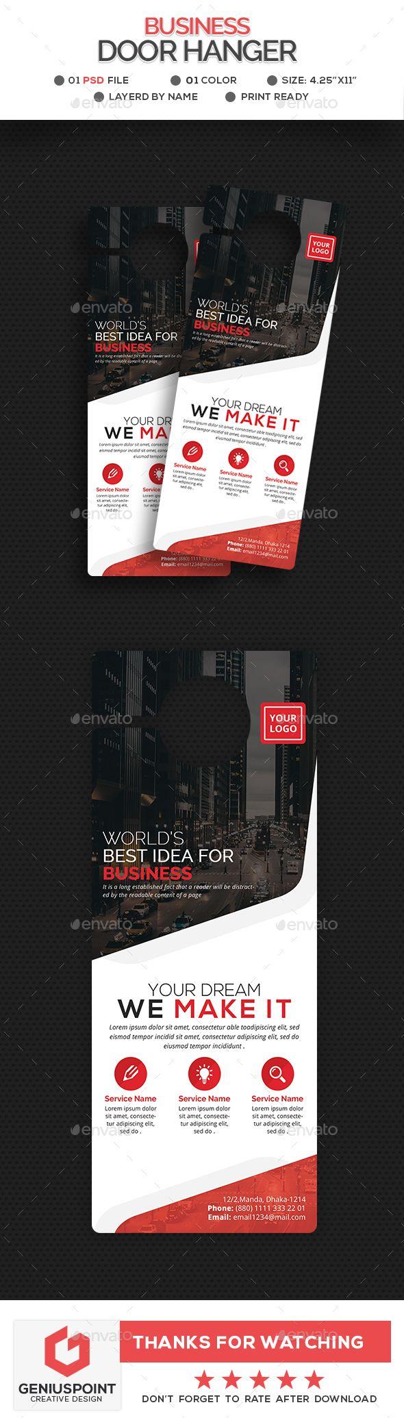 Business Door Hanger Template | Door hanger template, Hanger and ...