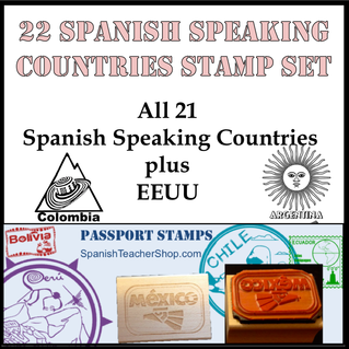 Country//Passport Rubber Stamp Assortment for 21 Spanish Speaking Countries
