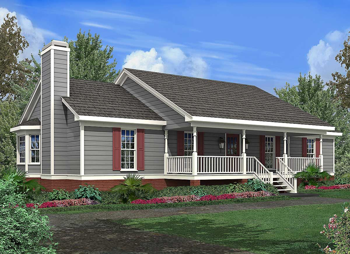 Plan 92042vs Simple Ranch With Two Bay Windows In 2021 Ranch House Plans Porch House Plans House Plans Farmhouse