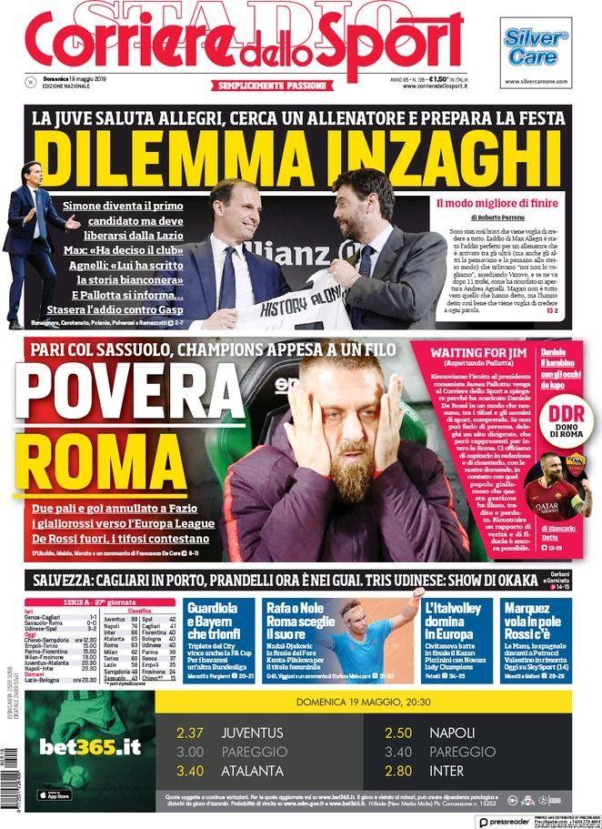 Corriere dello Sport (19 de mayo de 2019) Portadas de