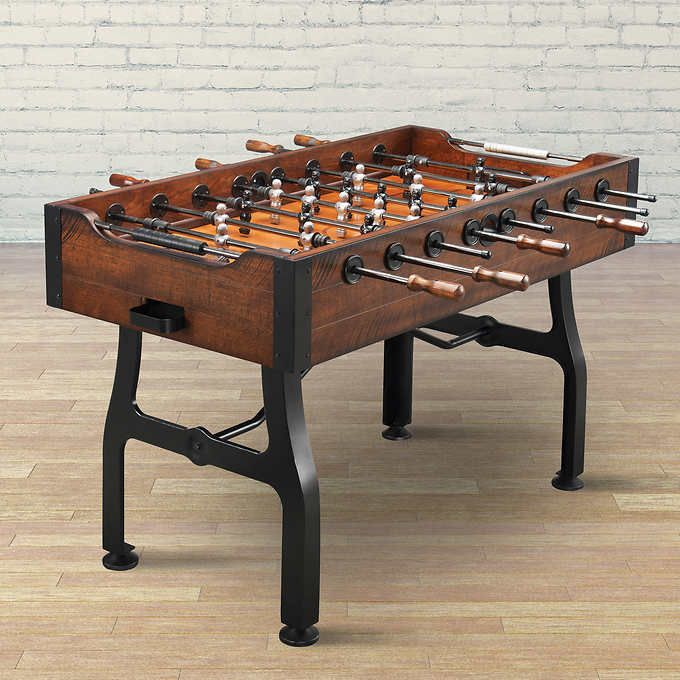 Vintage Foosball Table 4 Soccer Balls Included Distressed Birch Veneer With  A Rich Walnut Finish Sturdy Metal Bead Scoring System Built In Leg Levelers