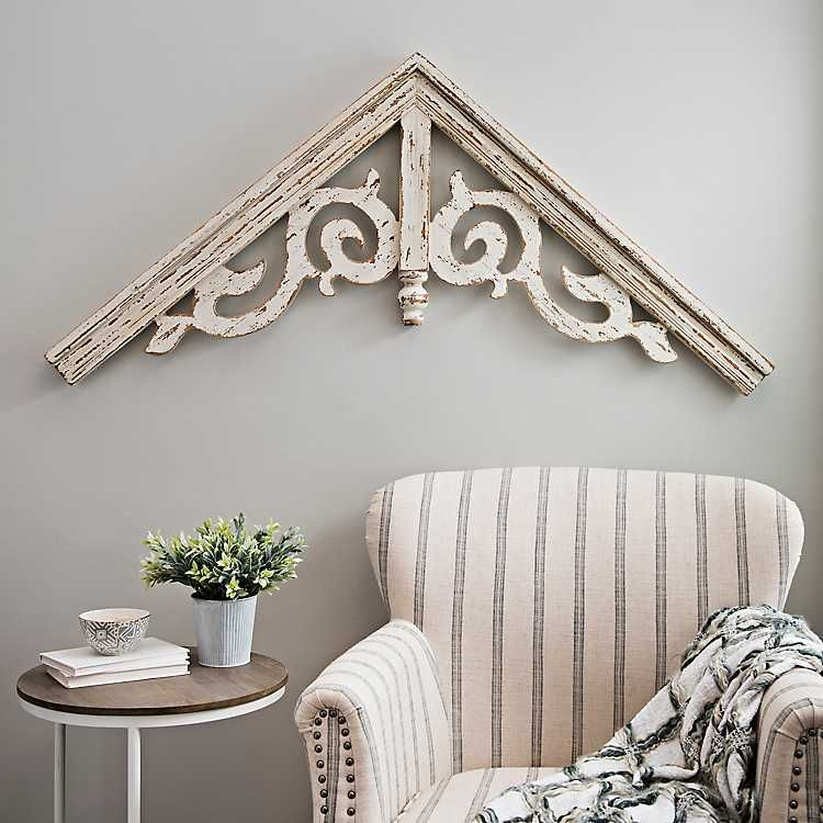 Corbel Antique White Ornate Scroll Arched Plaque Arched Wall