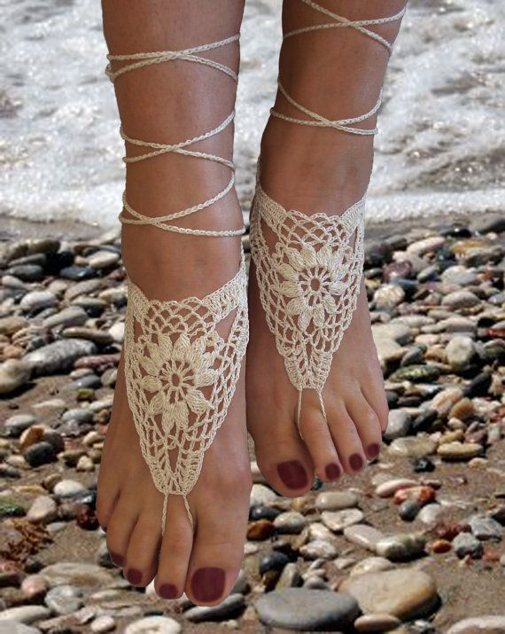Crochet Barefoot Sandals, Ivory Barefoot sandles, Beach Pool,Nude shoes,Foot jewelry on Etsy, $12.00