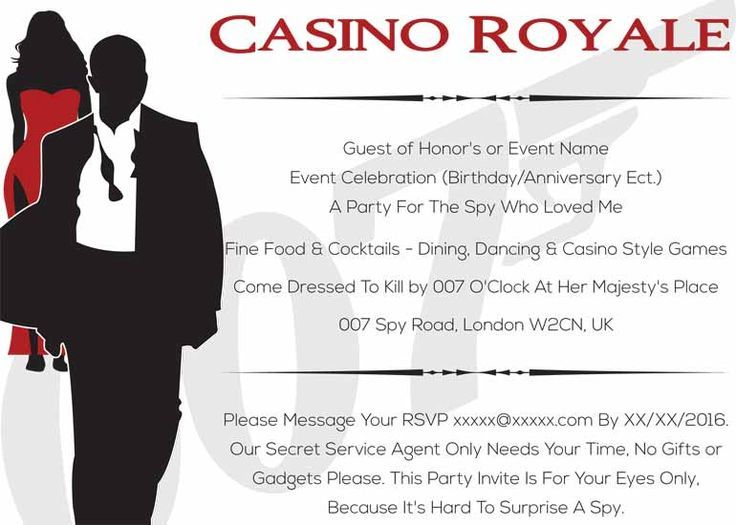 Image result for free printable casino royale party invitations ...