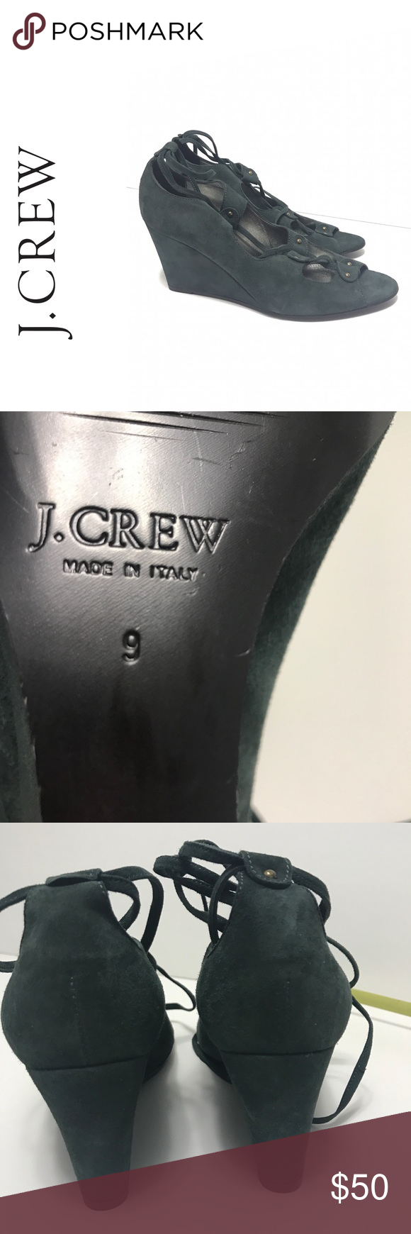 25b53e299c6e Crew Leather Suede Lace Up Shoes Heels Wedges 9 J. Crew Leather Suede Lace  Up Shoes Heels Wedges 9 preowned great condition a dark green J crew J.