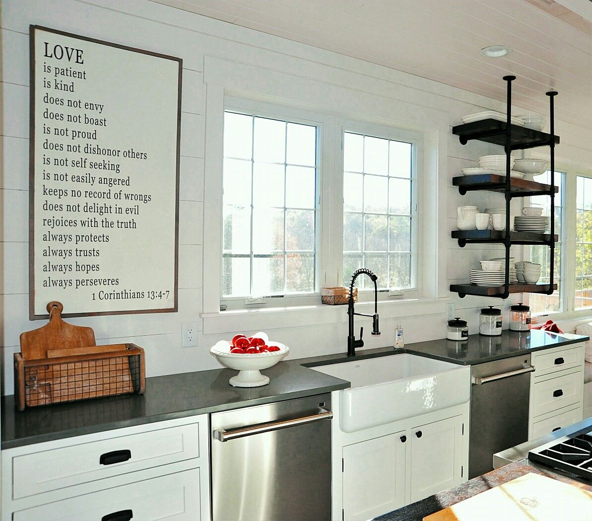 White Kitchen With Shiplap Walls Shaker Cabinets Industrial Shelves And Farmhouse Sink White Kitchen Rustic Lake House Kitchen White Kitchen Decor