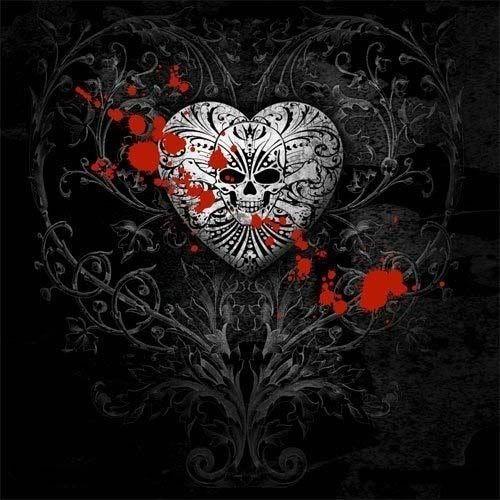 Heart #Heart #Skull #Black #Blood
