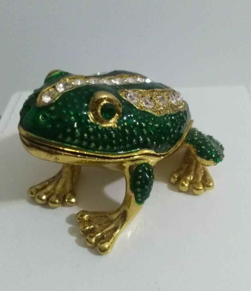 Frog Jeweled Trinket Box with SWAROVSKI Crystals