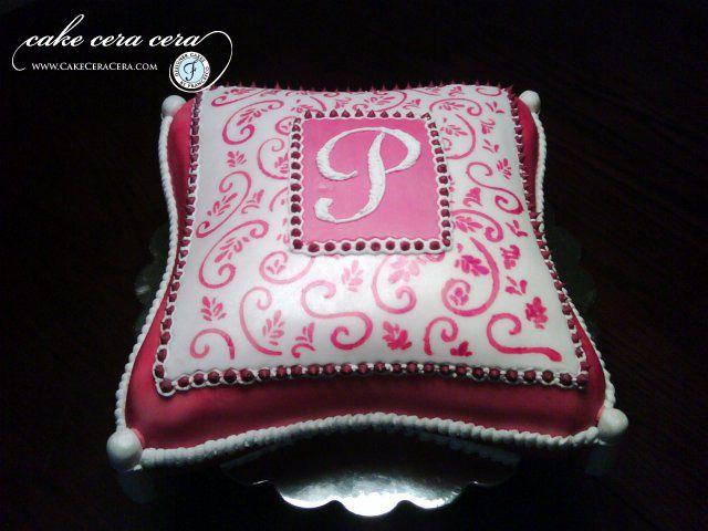 Pillow Cake Initial P  by Cake Cera Cera www.CakeCeraCera.com