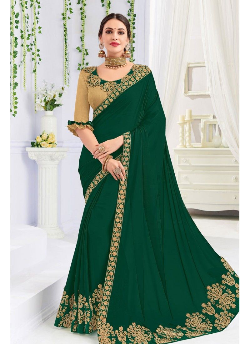 d46ded8572 Georgette Fabric Embroidered Designer Saree | Sarees in 2019 | Green ...