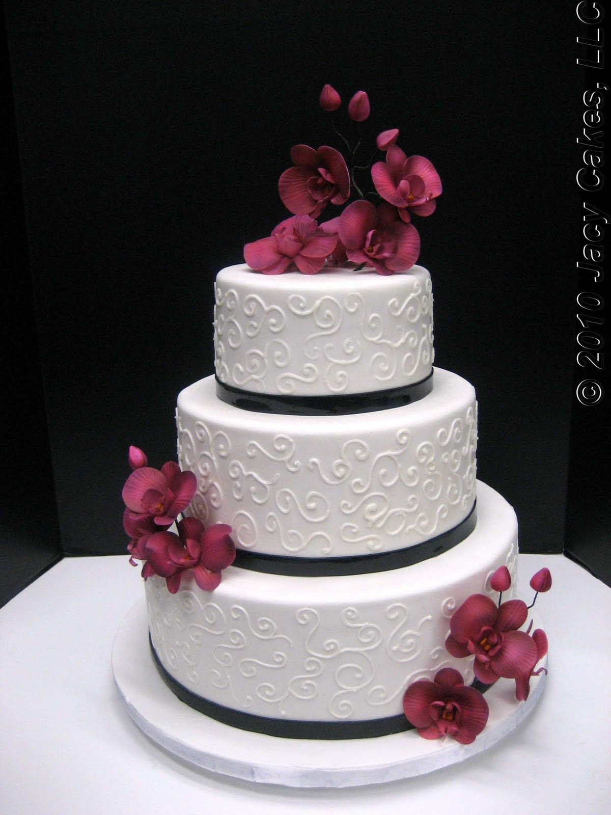 3 Tier Orchid Traditional Wedding Cakes