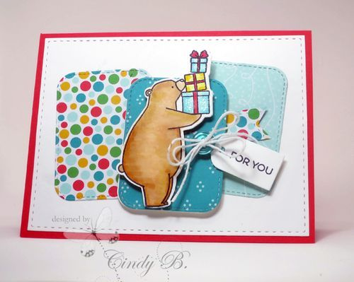 A bear delivering gifts. Sweet set from #mft Cindy Beach stampspaperandink.typepad.com