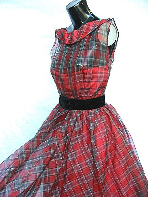 1950's 50's Red Print Party Dress R & K Originals .. Absolutely Beautiful.
