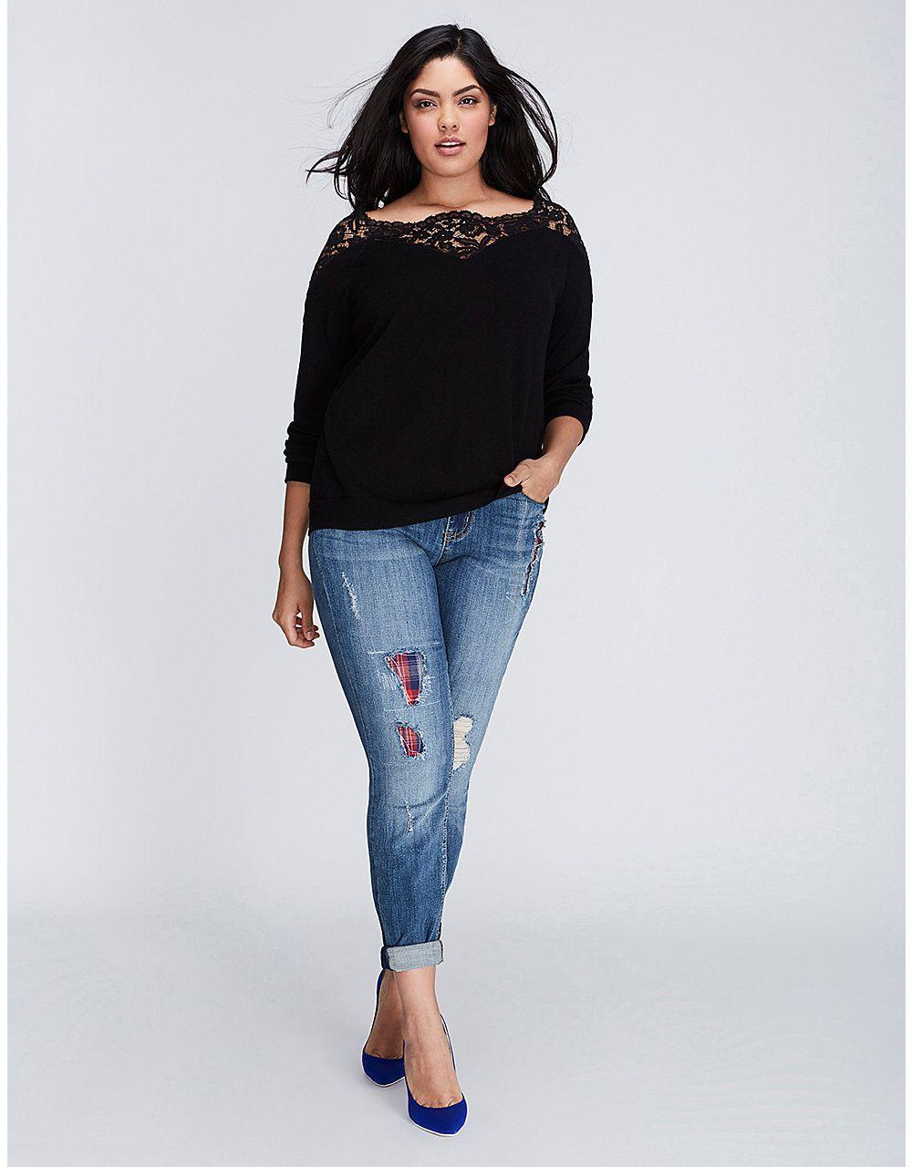 Lace Yoke Sweater | Lane Bryant | My Style | Pinterest | Shopping