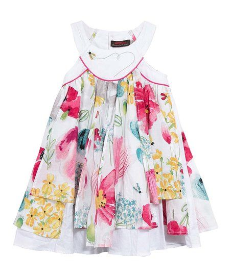ccb7b6e66421e Catimini White & Pink Floral Ruffle Dress - Girls | zulily | For ...