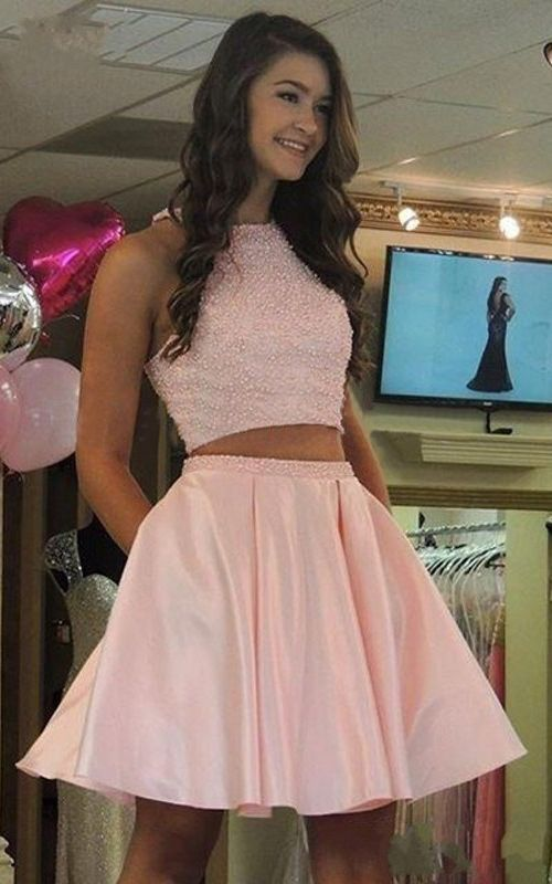 Fashion Two Piece Jewel Pink Homecoming Dresses With Beading Pockets