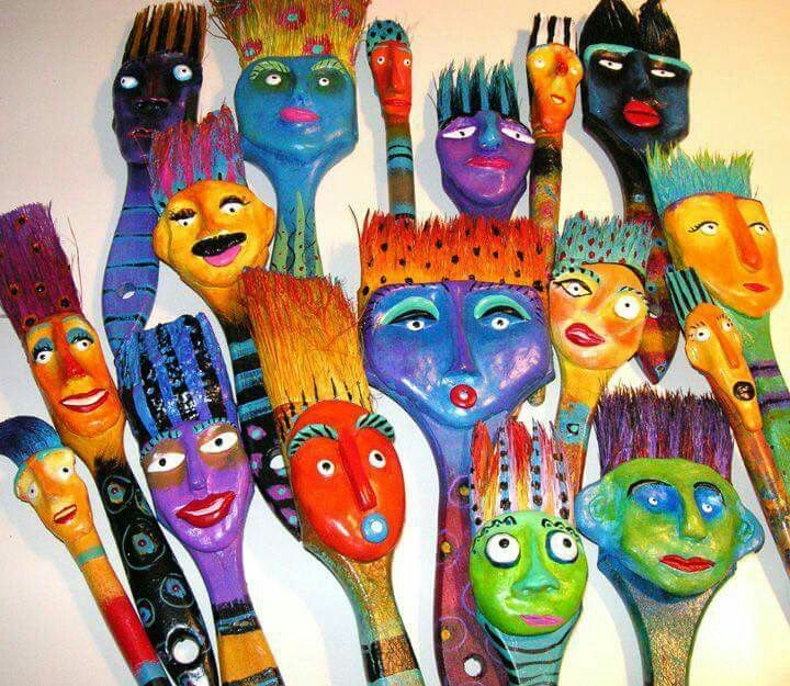 Pin By Aileen S Musings On Altered Paint Brushes Paint Brush Art Art Dolls Art Projects